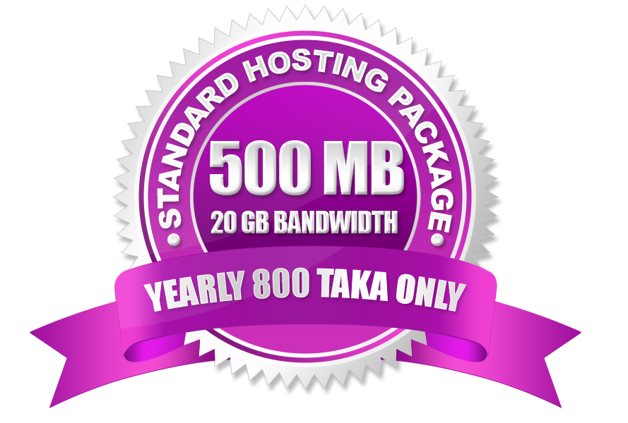 Standard Hosting Package (500 MB) Yearly 800 Taka Only.
